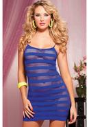 Riot Girly- Net Striped Dress -blue Os
